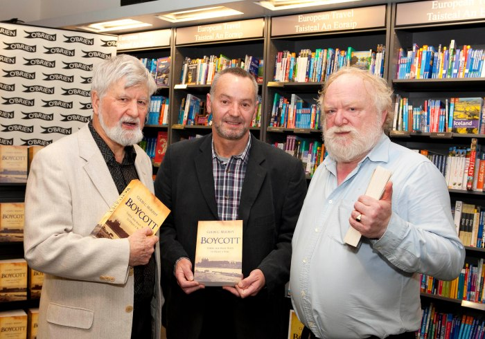 (L-R) Michael O'Brien, O'Brien Press with Colin C. Murphy and Frank McGuinness at the launch of Colin's new book, Boycott, at Hodges Figgis, Thursday 25th October. Photo: Peter Houlihan / Fennells